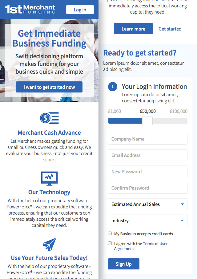 Mobile version of the 1st Merchant Funding website homepage