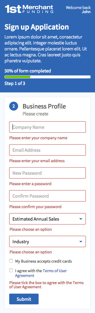 Mobile version of a signup page showing form error handling