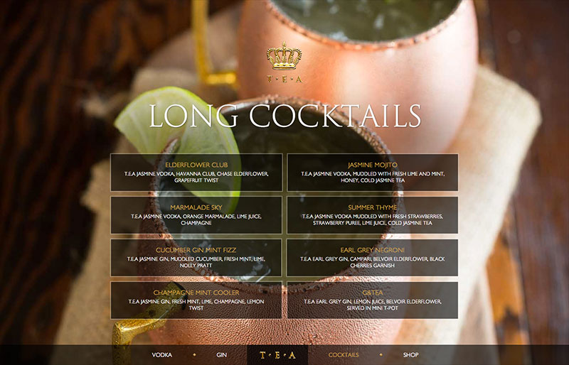 TEA website cocktails page